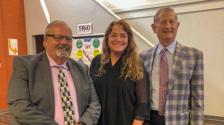 Dr. Coltharp, Dr. Tinkler, and Dr. Einhelig stand side by side, smiling.