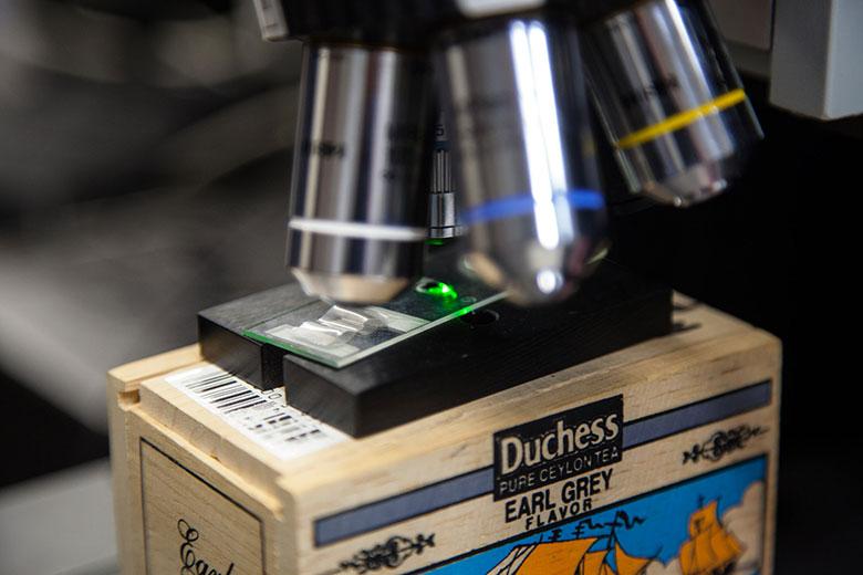 Microscope in Mayanovic's physics lab
