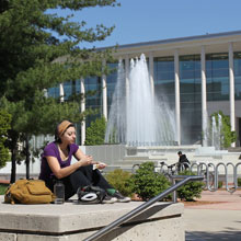 Student near Hammons Fountain