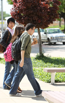 Students on campus walking