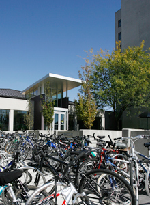 Bike racks in front of residence halls