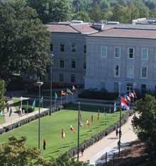 Avenue of Flags extends from Carrington Hall