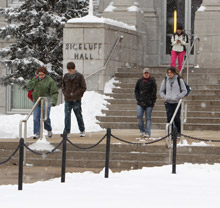 Students outside in winter