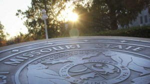 Missouri State University seal in front of Carrington Hall