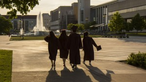 Graduates by the fountain