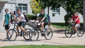 Bikers on campus