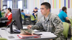 Veteran student in computer lab
