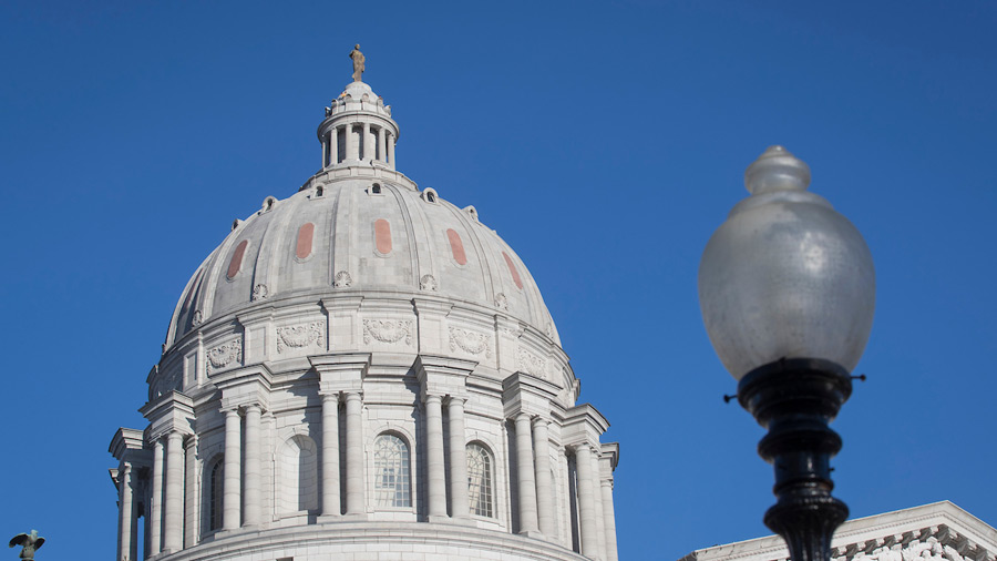 Missouri capitol building against a blue sky