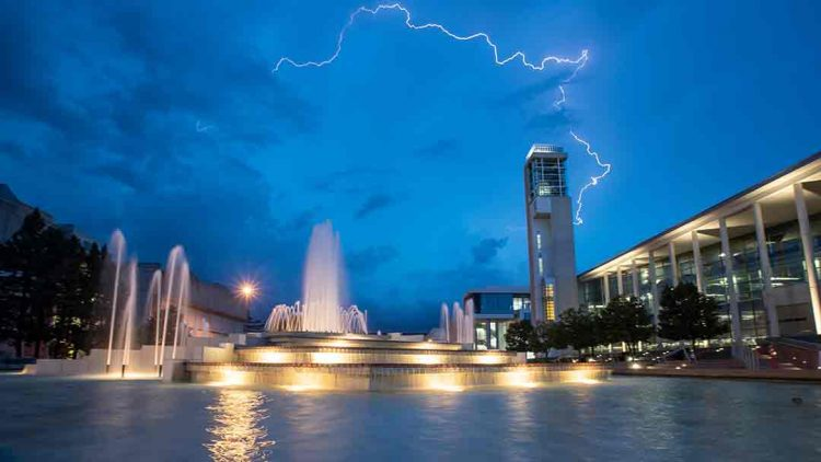 Storm over campus fountain