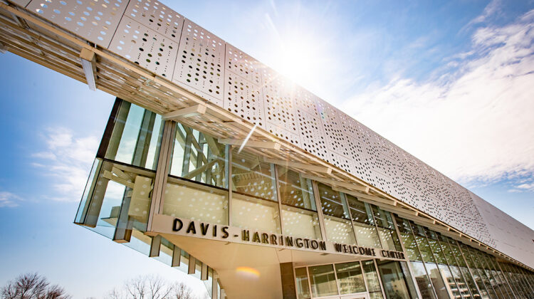 Davis-Harrington Welcome Center on a sunny day