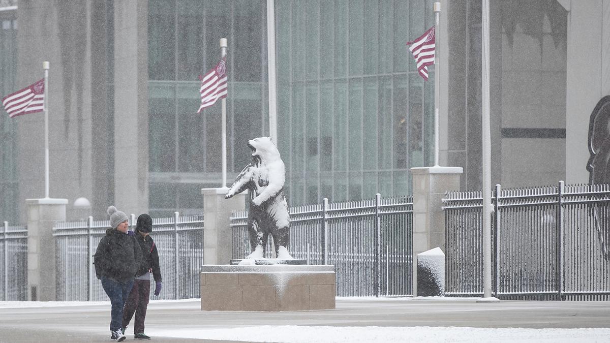 Snow falling near football stadium