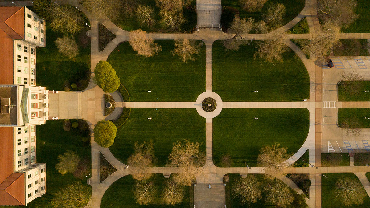 Historic quad from aerial view