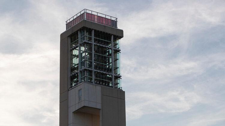 Carillon against dusk sky