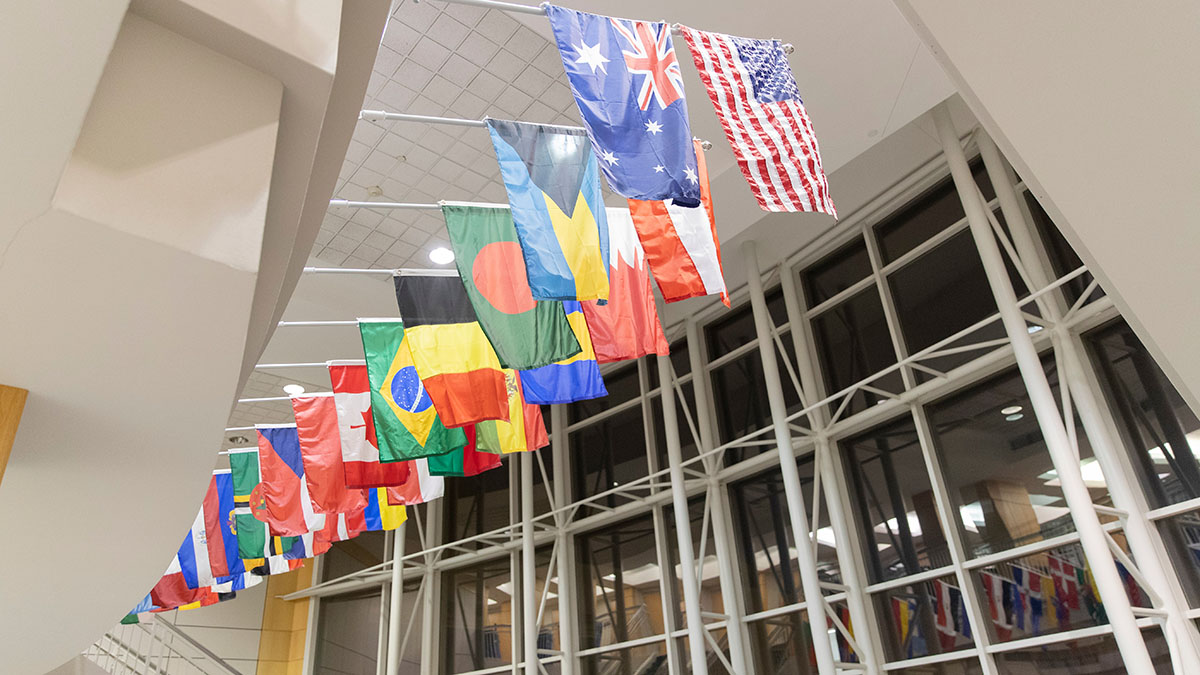 International flags in Strong Hall atrium