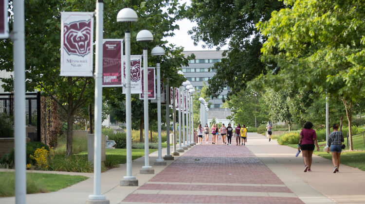 Few students walk along path lined with MSU flags.