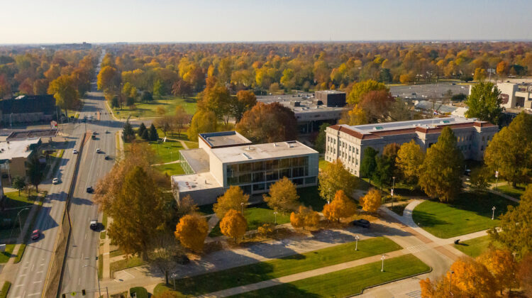 Aerial of campus in fall