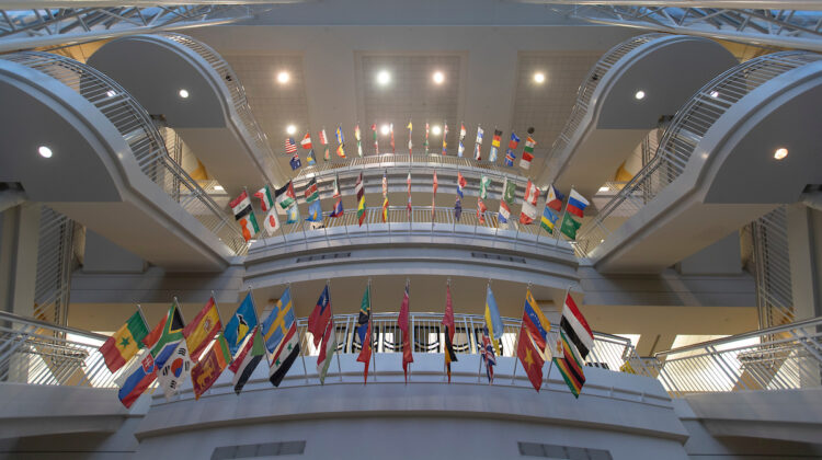 From the ground floor of the Strong Hall atrium, looking up at the flags overhanging the staircase.