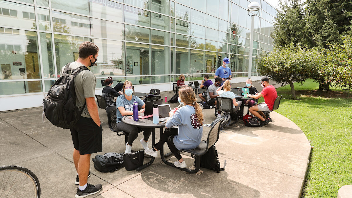 Group of students study outdoors.