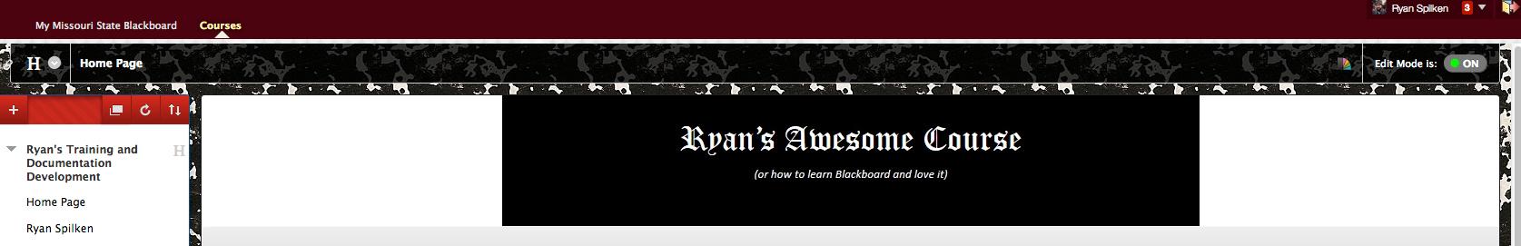 Blackboard page banner