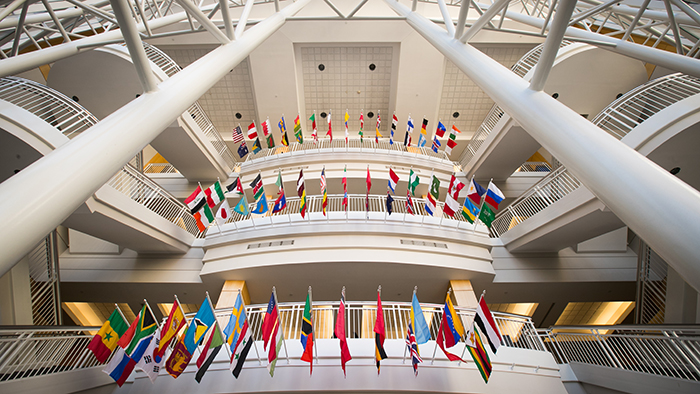 international flags displayed in the stairwell of strong hall
