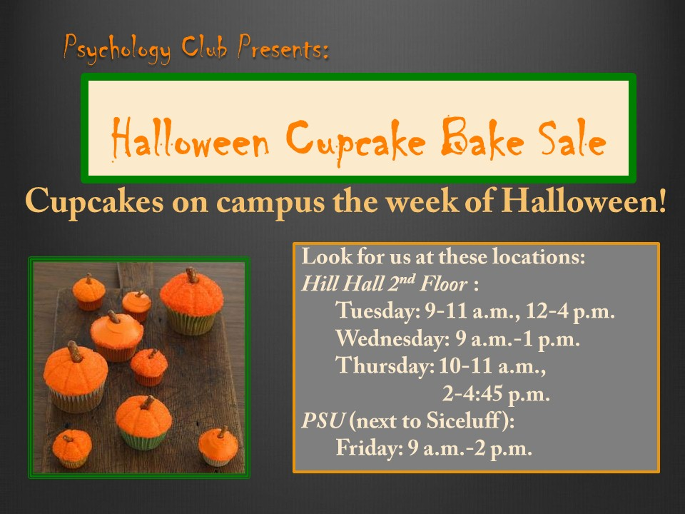 psychology club presents halloween cupcake bake sale in hill hall