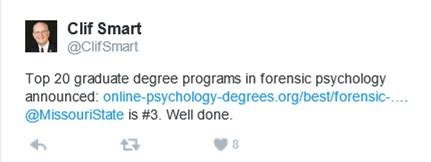 Top 20 graduate degree programs in forensic psychology announced: Missouri State Psychology #3