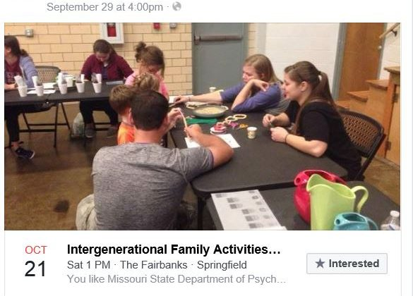 Intergenerational Family Activities, Saturday, October 21st 1-3:00 pm