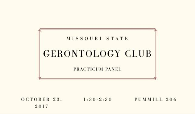 Gerontology Club: Practicum Panel, Monday, October 23rd 1:30-2:30 pm in PUMM 206