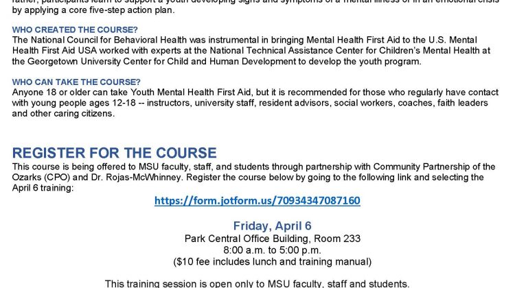 Youth Mental Health First Aid, Friday, April 6th, 8:00 am – 5:00 pm, PCOB 233