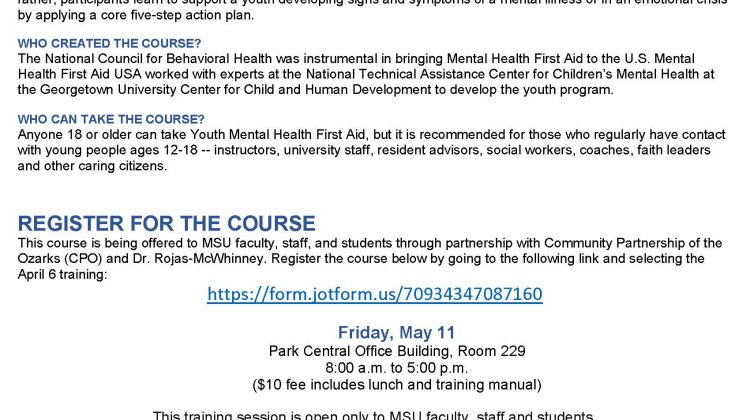 Additional Class for Youth Mental Health First Aid Training on Friday, May 11