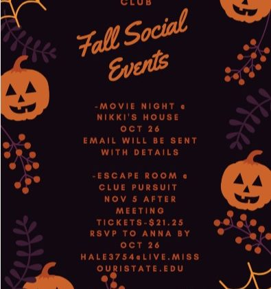 Gerontology Club: Fall Social Events