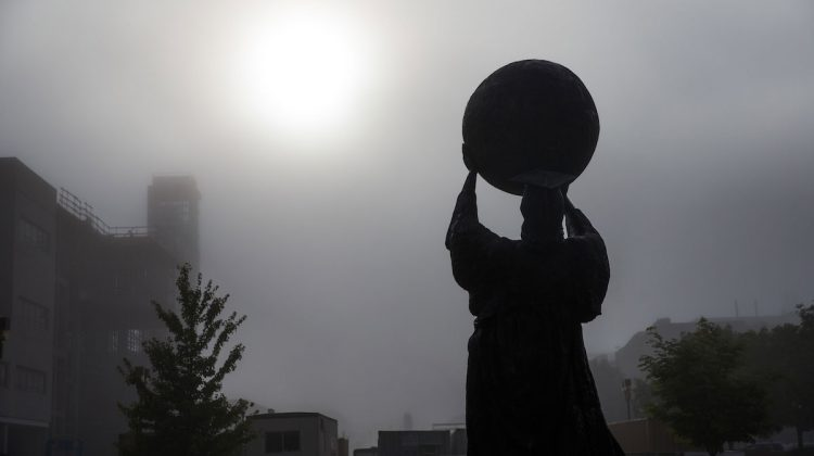 Public Affairs statue in fog