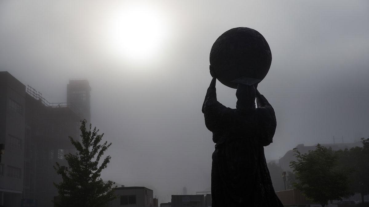 Public Affairs statue in fog