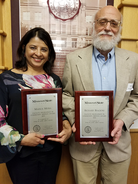2018 faculty awardees, Mahua Mitra and Richard Biagioni