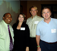 Pictured (far left) is former R.E.A.L. Bear LaVel Heintz, '04, along with fellow Bears at the February 4 Jacksonville alumni event.