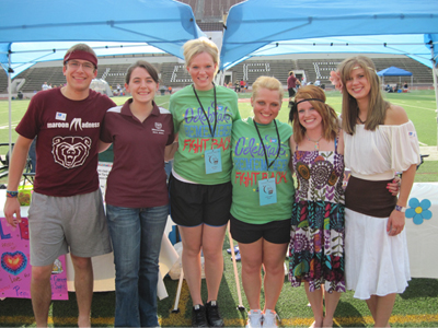Pictured at the collegiate Relay for Life event are (left to right) Michael Rieger, Jennifer Schott, Beckie Bereitschaft '10, Chelsea Clark '10, Amanda Morgan and Diana Fox.