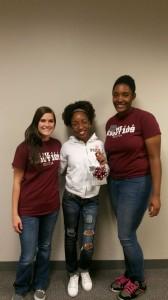 (From Left) Caitlin Harris, Secretary, Faith Orie-Okpewho, and Jasmine Carter, Social Chair