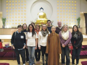 "Dr. Stephen Berkwitz (back row, far right) and some of his students in his ""Religions of China and Japan"" class visited the Fo Guang Shan St. Louis Buddhist Center in St. Louis, MO in early February and shared a photo with us."