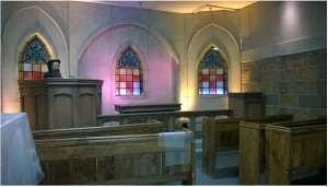 The exhibit includes a replica of the Geneva Chapel from the mid-1500s.  Visitors can sit in the pews and learn about the Geneva Bible, an early English translation of the Bible that predates the King James translation.