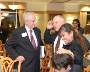 At left, former Missouri Governor Bob Holden chats with MSU Religious Studies Professor Dr. Jim Moyer.