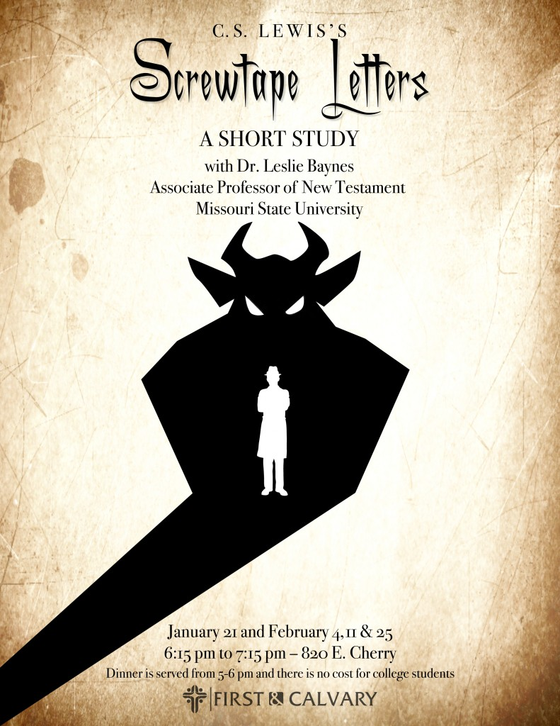 screwtape letter The publication of the screwtape letters, along with his bbc radio talks during the 1940s (which were later issued in book form as mere christianity), combined to give lewis heightened recognition as a christian spokesperson.