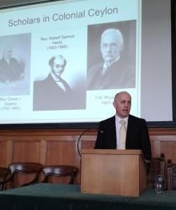 Dr. Stephen Berkwitz, Department Head in Religious Studies, giving a talk at the University of Edinburgh Divinity School, Scotland