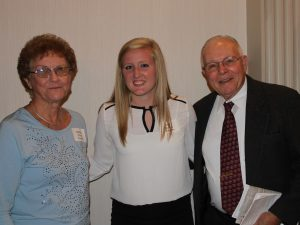 Scholarship winner Molly Arnold (center), with Dr. Jim Moyer, REL Professor Emeritus (right), and his wife, Bobbi Moyer (left)