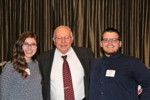 Dr. Jim Moyer, REL Professor Emeritus, with scholarship winners Ali Jemes (left), and Caleb Skocy (right)