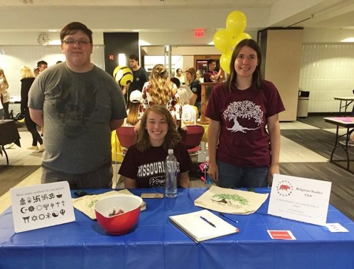 photo of Religious Studies club members Connor, Brooke, and Katherine, at the New Student Festival