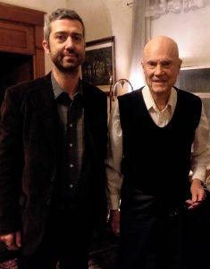 Photo of Religious Studies Assistant Professor Dr. Vadim Putzu with Tom Johnson, grandson of Thomas Moore Johnson