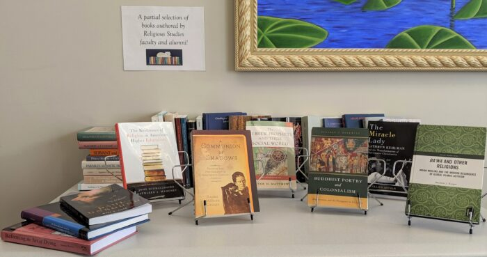 A partial selection of books authored by Religious Studies faculty and alumni