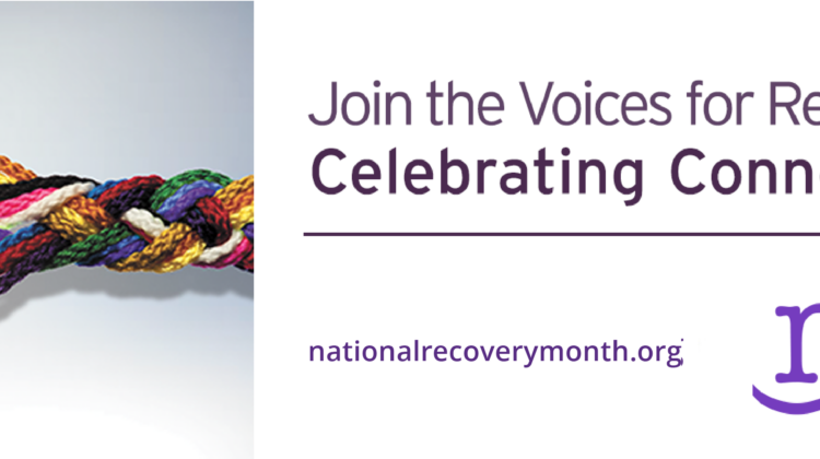 National Recovery Month Logo with embedded link to Faces and Voices of Recovery Website