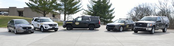 Missouri State Highway Patrol vehicles on display.