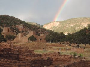 Rainbow over Jemez Historic Site, across the street from where we stayed